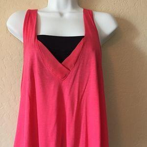 BeBe Pink V Neck Sleeveless Top With Black Bandeau